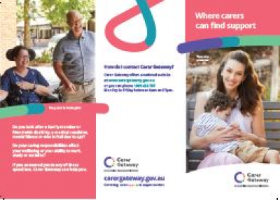 the product image of A brochure that explains Carer Gateway and how it can help carers.