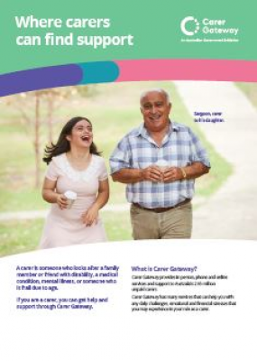the product image of An A4 factsheet that explains Carer Gateway and how it can help carers.