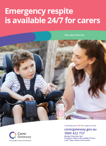 the product image of A poster that explains Carer Gateway emergency respite